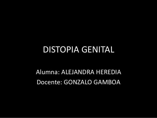 DISTOPIA GENITAL Alumna: ALEJANDRA HEREDIA Docente: GONZALO GAMBOA