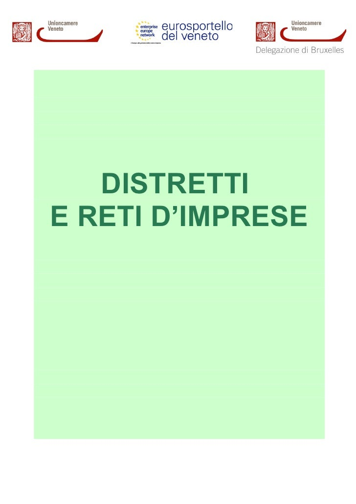 DISTRETTI E RETI D'IMPRESE
