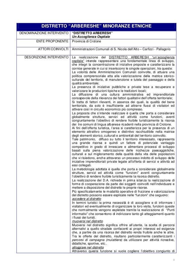 """Distretto """"arbereshe"""" minoranze etniche della provincia di crotone s. barresi 2008"""