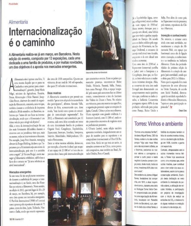 Internacionalização é o caminho. Distribução Hoje (Portugal), noviembre 2011