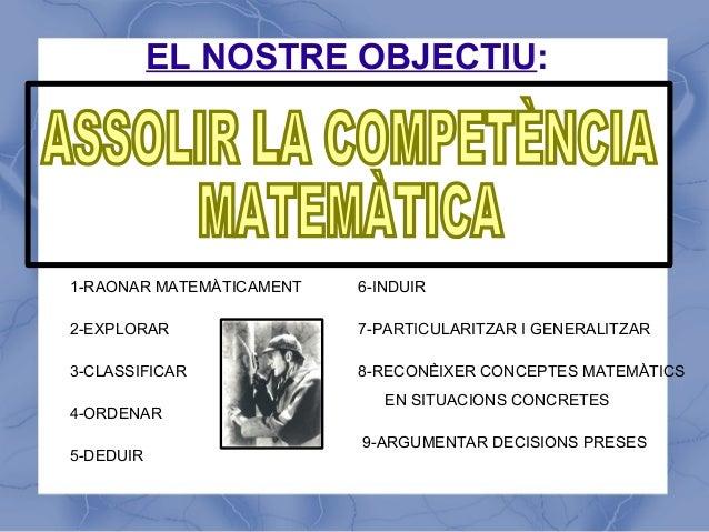 EL NOSTRE OBJECTIU:1-RAONAR MATEMÀTICAMENT   6-INDUIR2-EXPLORAR                7-PARTICULARITZAR I GENERALITZAR3-CLASSIFIC...