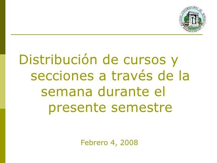 Distribución de cursos y secciones a través de la semana durante el 2do semestre 2007-08