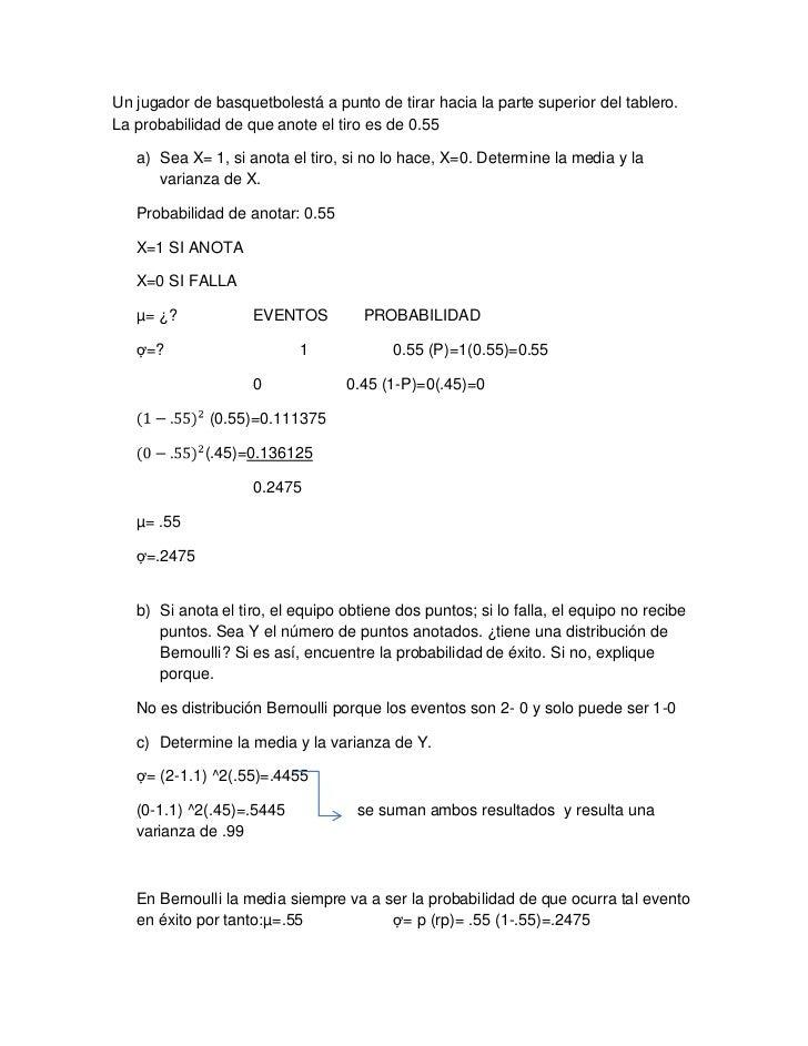 Distribución de bernoulli   para combinar