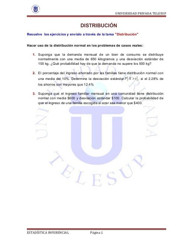 """UNIVERSIDAD PRIVADA TELESUP  DISTRIBUCIÓN Resuelve los ejercicios y envíalo a través de la tarea """"Distribución"""" Hacer uso ..."""