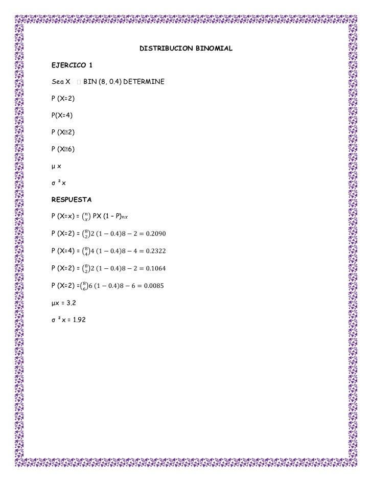 DISTRIBUCION BINOMIALEJERCICO 1Sea X       BIN (8, 0.4) DETERMINEP (X=2)P(X=4)P (X˂2)P (X˂6)μxσ ²xRESPUESTAP (X=x) =     P...
