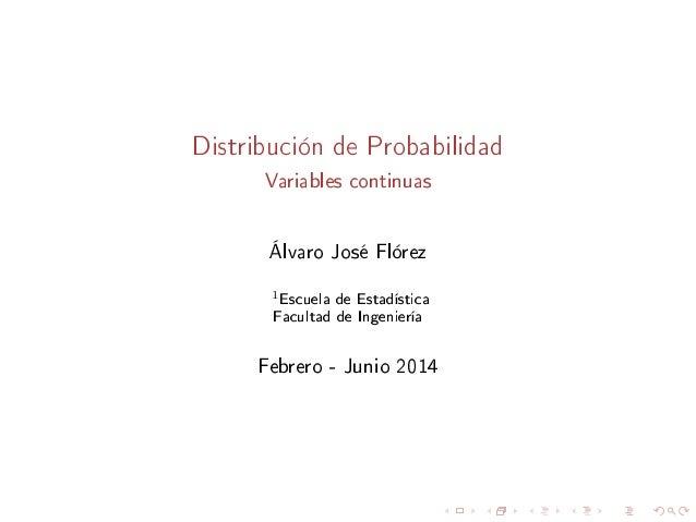 Distribuciones de Probabilidad (Variable Aleatoria Continua)