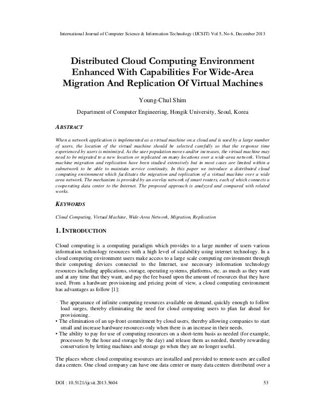 Distributed Cloud Computing Environment Enhanced With Capabilities For Wide-Area Migration And Replication Of Virtual Machines