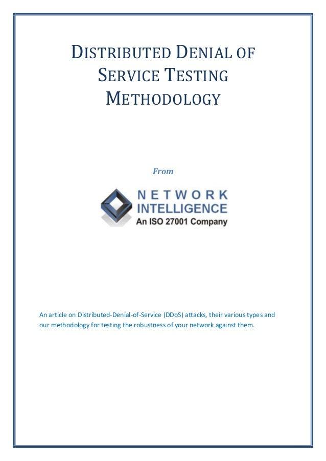 Distributed Denial of Service (DDos) Testing Methodology