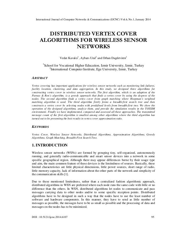International Journal of Computer Networks & Communications (IJCNC) Vol.6, No.1, January 2014  DISTRIBUTED VERTEX COVER AL...