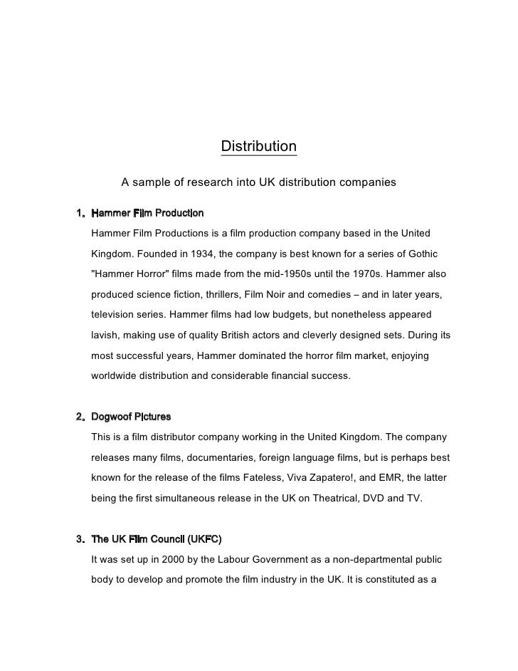 Distribution<br />A sample of research into UK distribution companies<br /><ul><li>Hammer Film Production