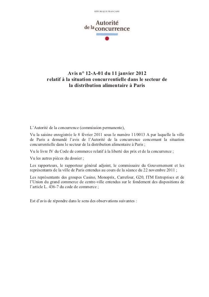 Distribution alimentaire-à-paris-avis-autorité-concurence-11-01-2012