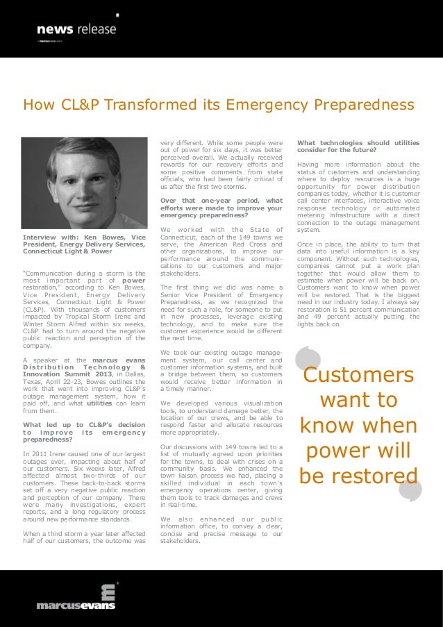 How CL&P Transformed its Emergency Preparedness - Ken Bowes, Connecticut Light & Power