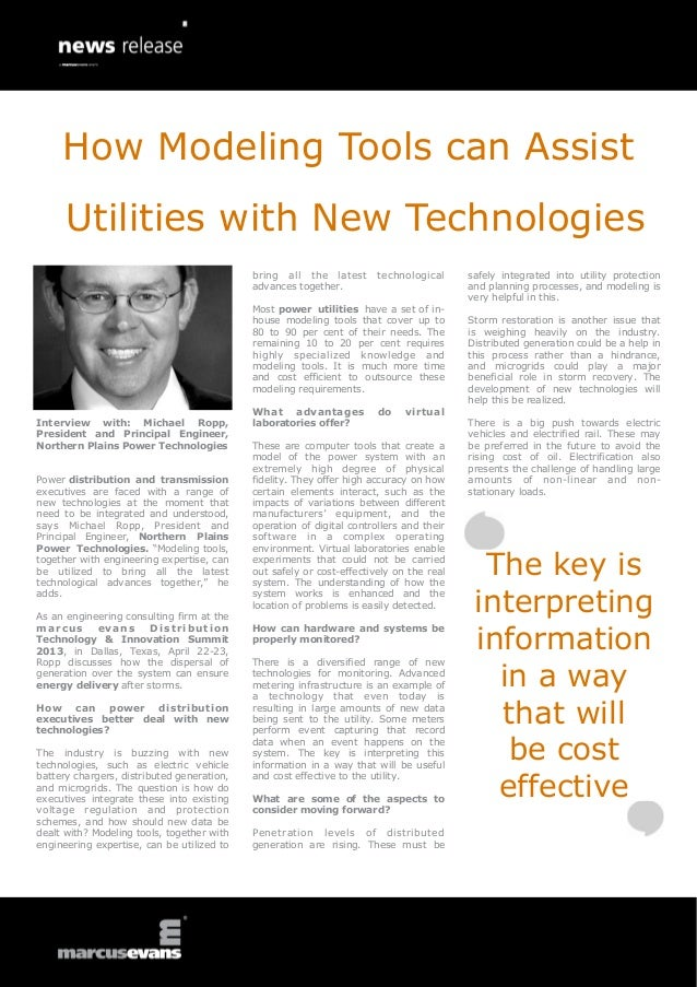 How Modeling Tools can Assist      Utilities with New Technologies                                            bring all th...