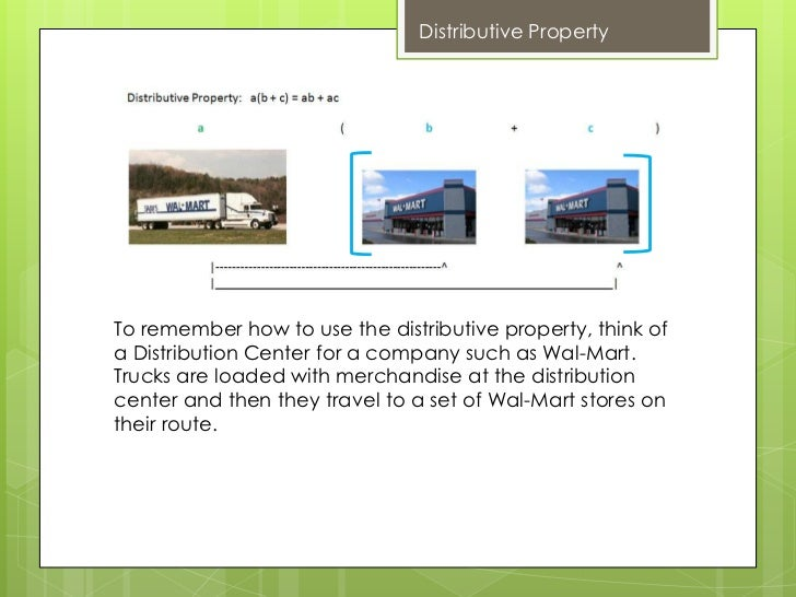 Distributive PropertyTo remember how to use the distributive property, think ofa Distribution Center for a company such as...