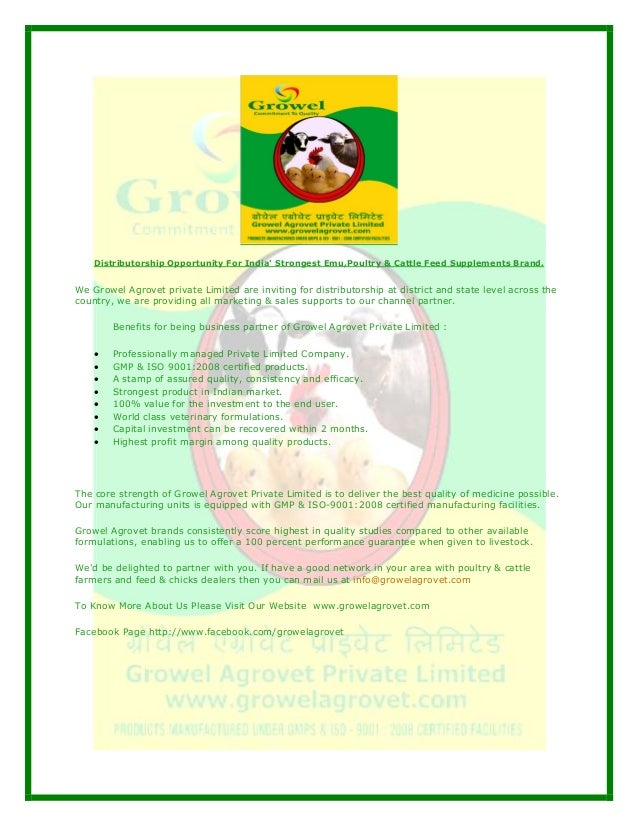 Distributorship Opportunity For India Strongest Emu,Poultry & Cattle Feed Supplements Brand.We Growel Agrovet private Limi...