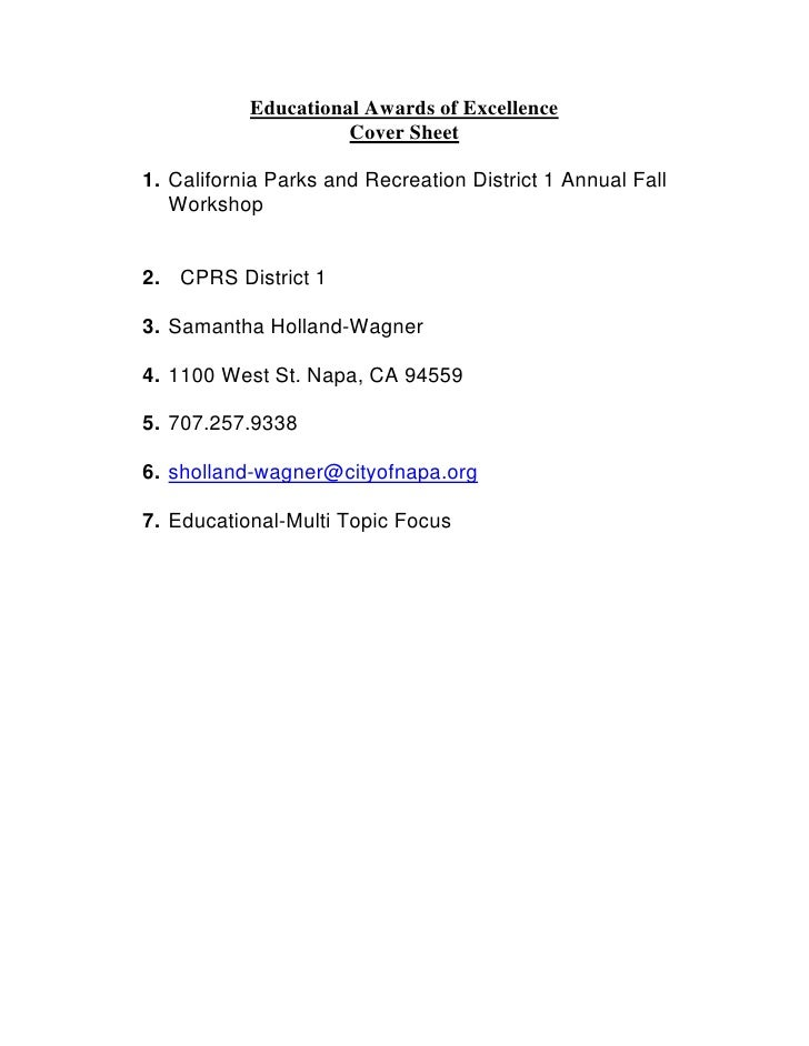 Educational Awards of Excellence                      Cover Sheet  1. California Parks and Recreation District 1 Annual Fa...