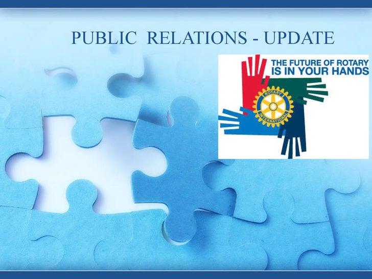 PUBLIC  RELATIONS - UPDATE