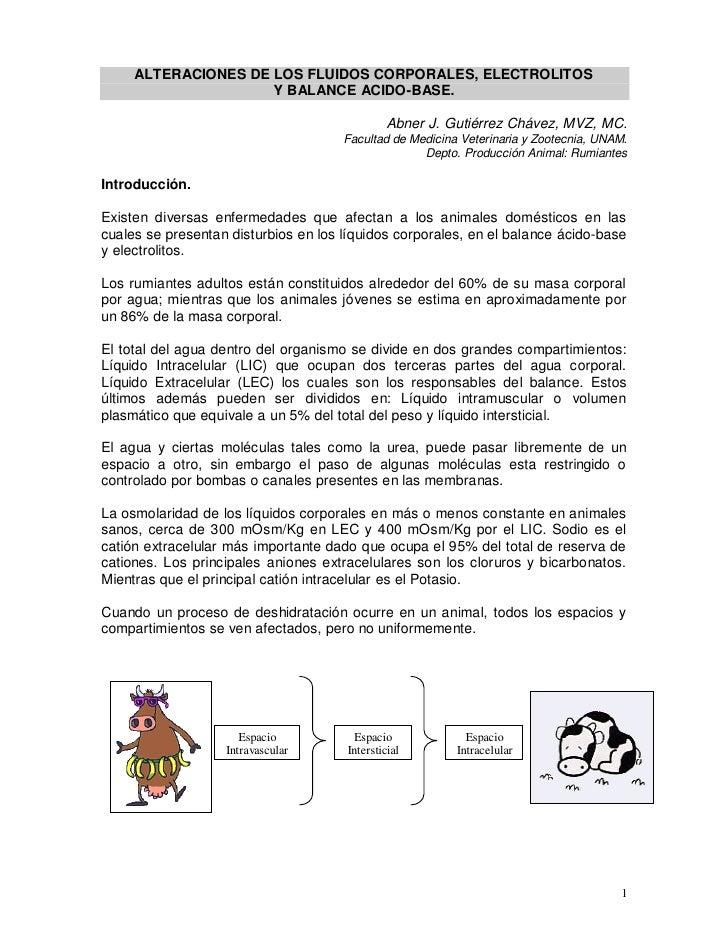 ALTERACIONES DE LOS FLUIDOS CORPORALES, ELECTROLITOS                     Y BALANCE ACIDO-BASE.                            ...