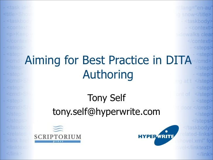 Aiming for Best Practice in DITA           Authoring              Tony Self     tony.self@hyperwrite.com