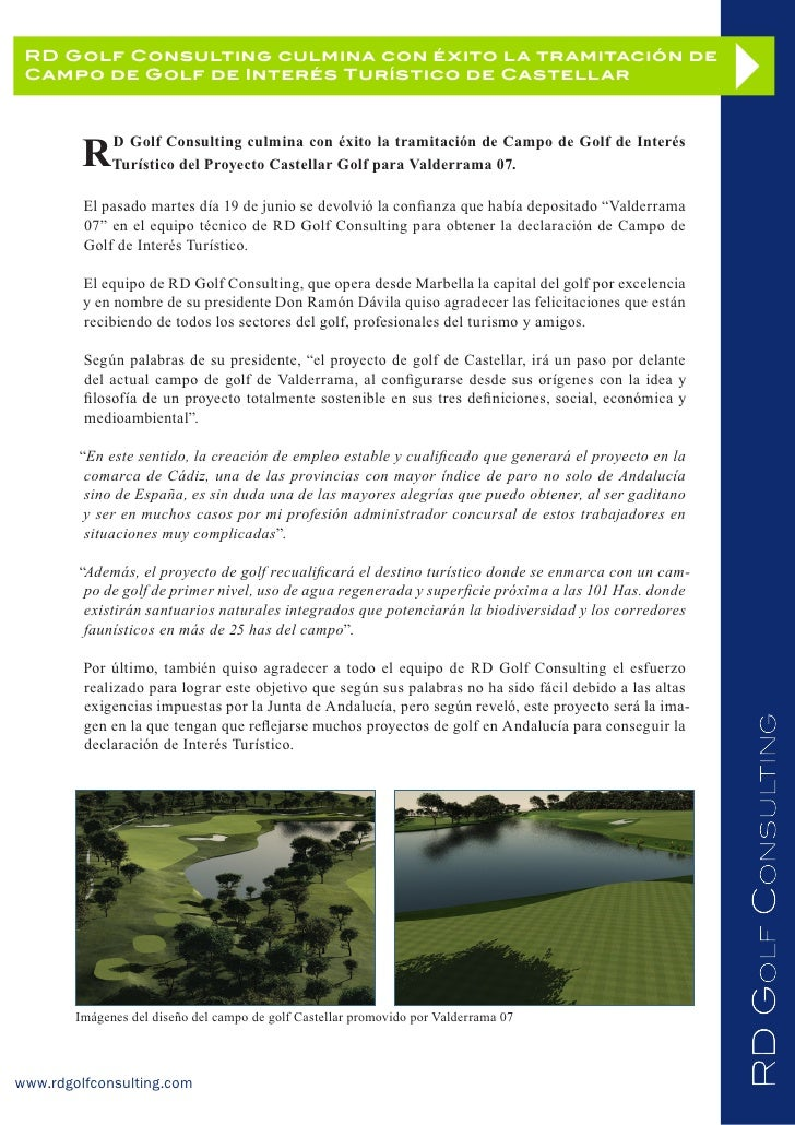 RD Golf Consulting culmina con éxito la tramitación de Campo de Golf de Interés Turístico de Castellar         R    D Golf...