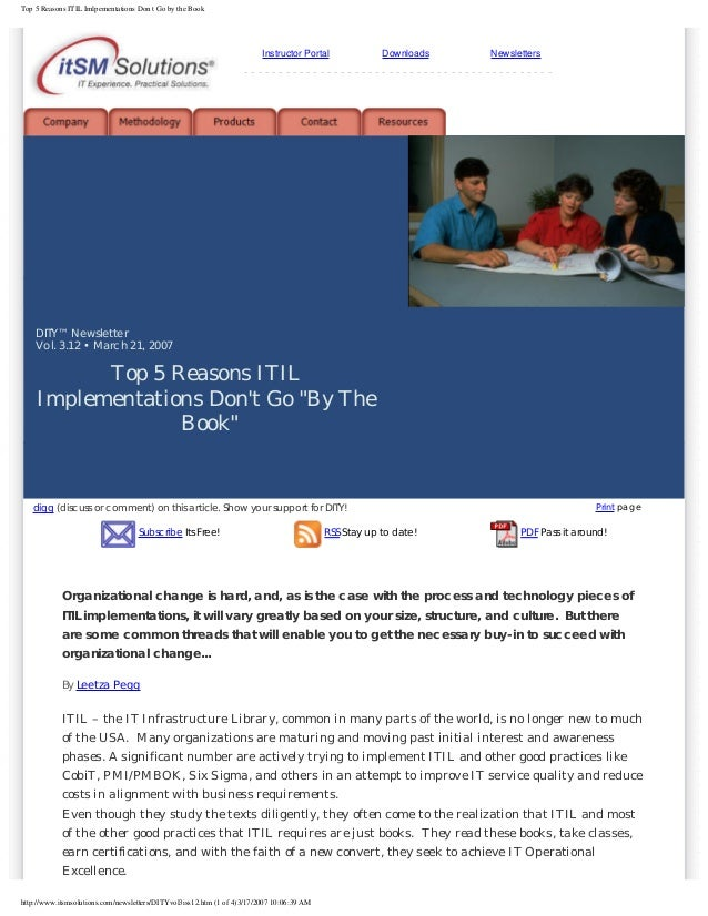 Top 5 Reasons ITIL Imlpementations Don t Go by the Book  Instructor Portal  Downloads  Newsletters  ----------------------...