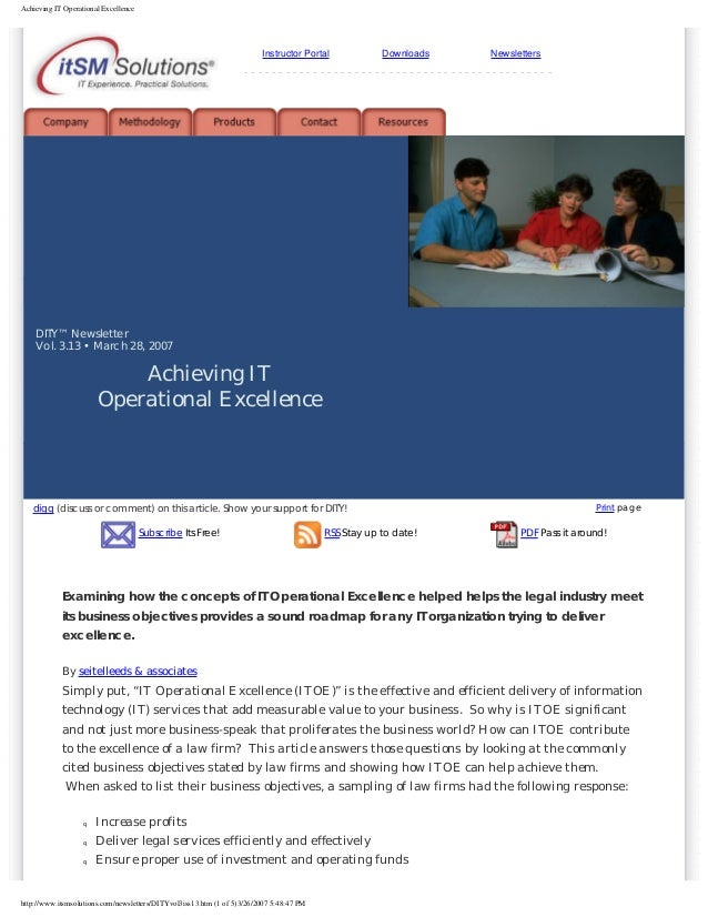 Achieving IT Operational Excellence  Instructor Portal  Downloads  Newsletters  ------------------------------------------...