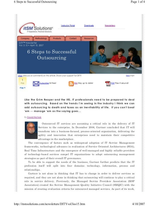 6 Steps to Successful Outsourcing  Page 1 of 4  Instructor Portal  Downloads  Newsletters  -------------------------------...