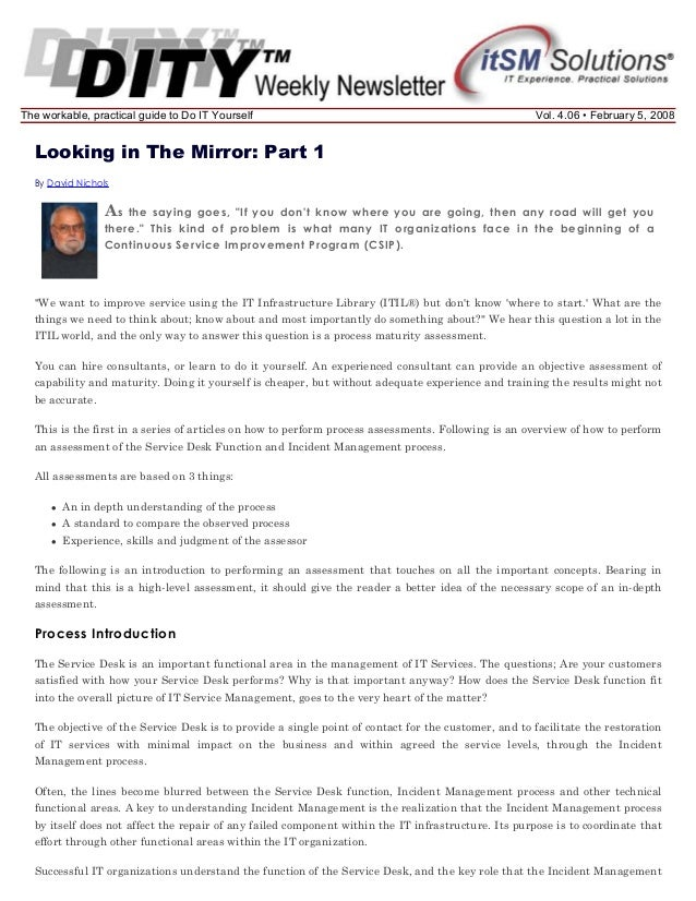 The workable, practical guide to Do IT Yourself  Vol. 4.06 • February 5, 2008  Looking in The Mirror: Part 1 By David Nich...