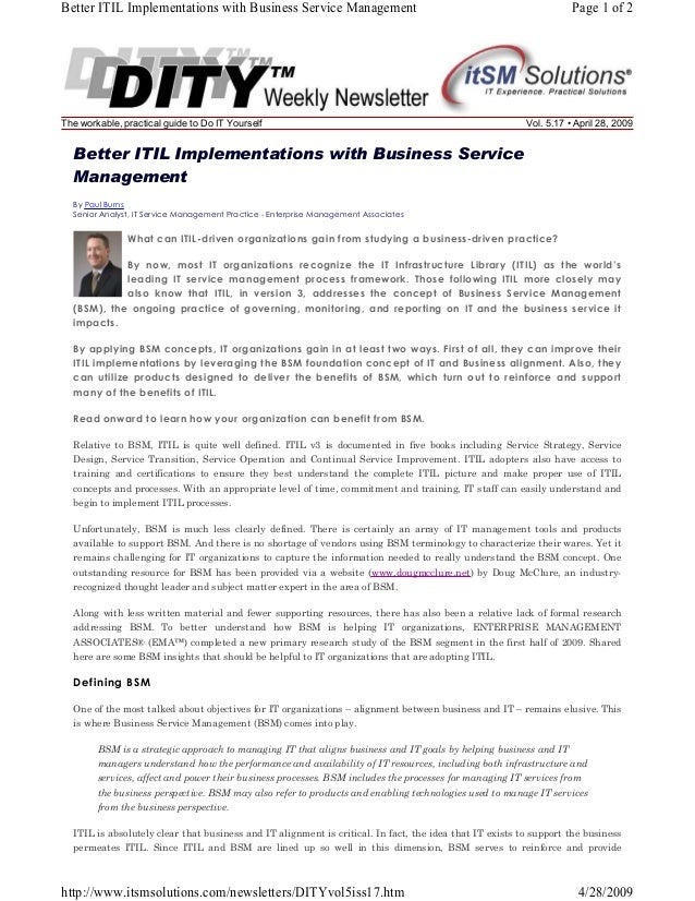 Better ITIL Implementations with Business Service Management  The workable, practical guide to Do IT Yourself  Page 1 of 2...