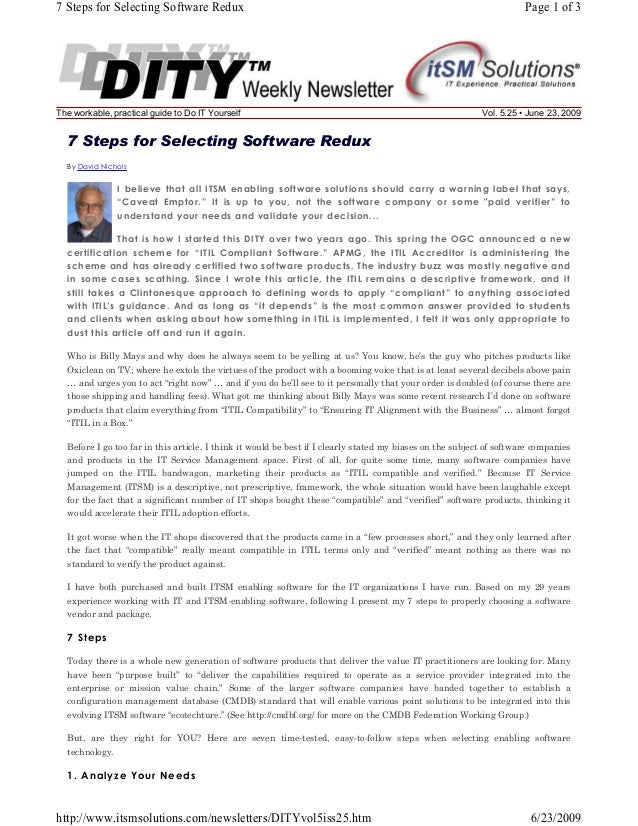 7 Steps for Selecting Software Redux  The workable, practical guide to Do IT Yourself  Page 1 of 3  Vol. 5.25 • June 23, 2...