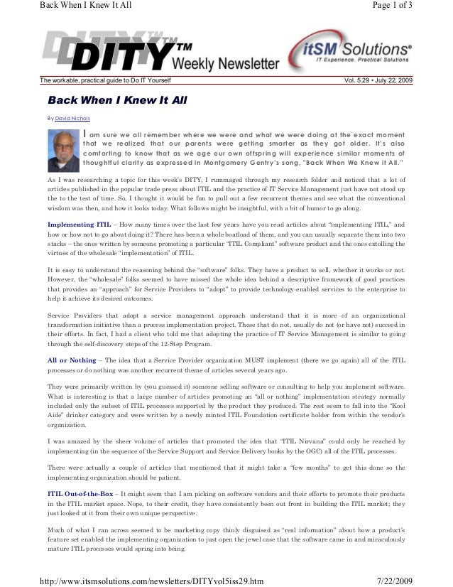 Back When I Knew It All  The workable, practical guide to Do IT Yourself  Page 1 of 3  Vol. 5.29 • July 22, 2009  Back Whe...