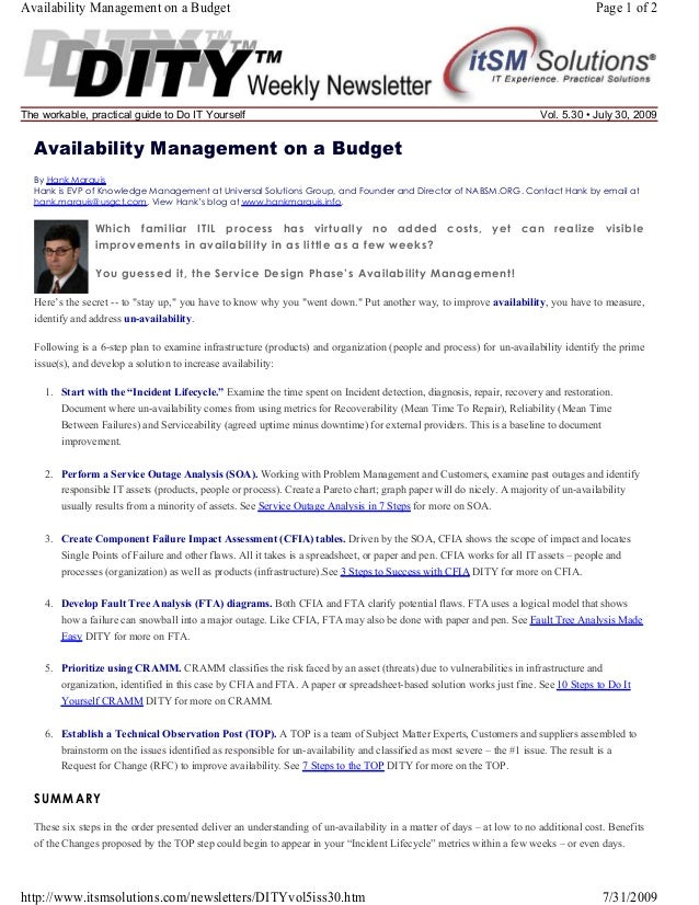 Availability Management on a Budget  The workable, practical guide to Do IT Yourself  Page 1 of 2  Vol. 5.30 • July 30, 20...