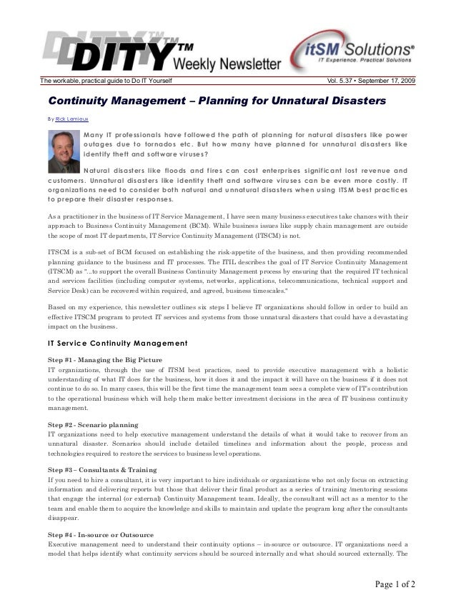 The workable, practical guide to Do IT Yourself  Vol. 5.37 • September 17, 2009  Continuity Management – Planning for Unna...