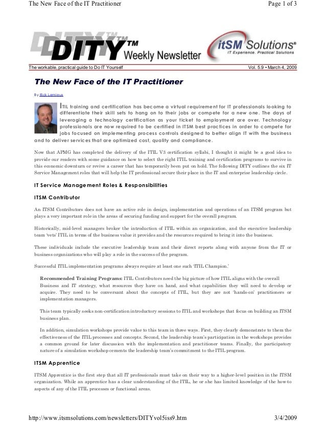 The New Face of the IT Practitioner  The workable, practical guide to Do IT Yourself  Page 1 of 3  Vol. 5.9 • March 4, 200...