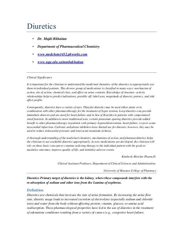 Diuretics •  Dr. Majdi Bkhaitan  •  Department of Pharmaceutical Chemistry  •  www.medchem1432.pbworks.com  •  www.uqu.edu...