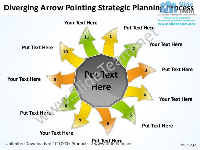 Diverging arrow pointing strategic planning process arrows network software power point templates