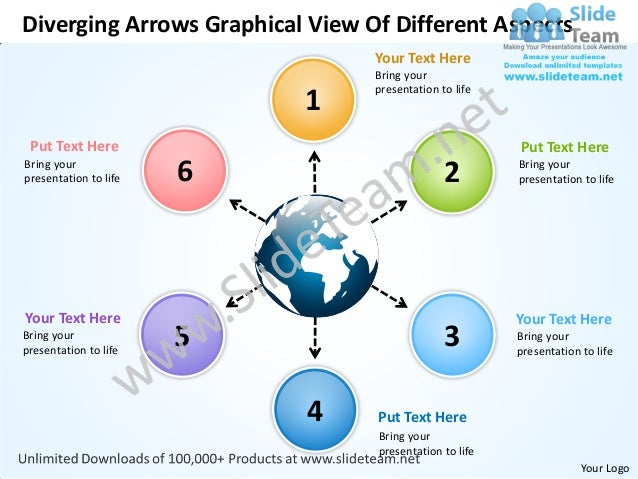 Diverging arrows graphical view of different aspects cycle flow chart power point slides