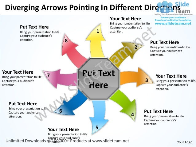 Diverging arrows pointing different directions circular motion network power point slides