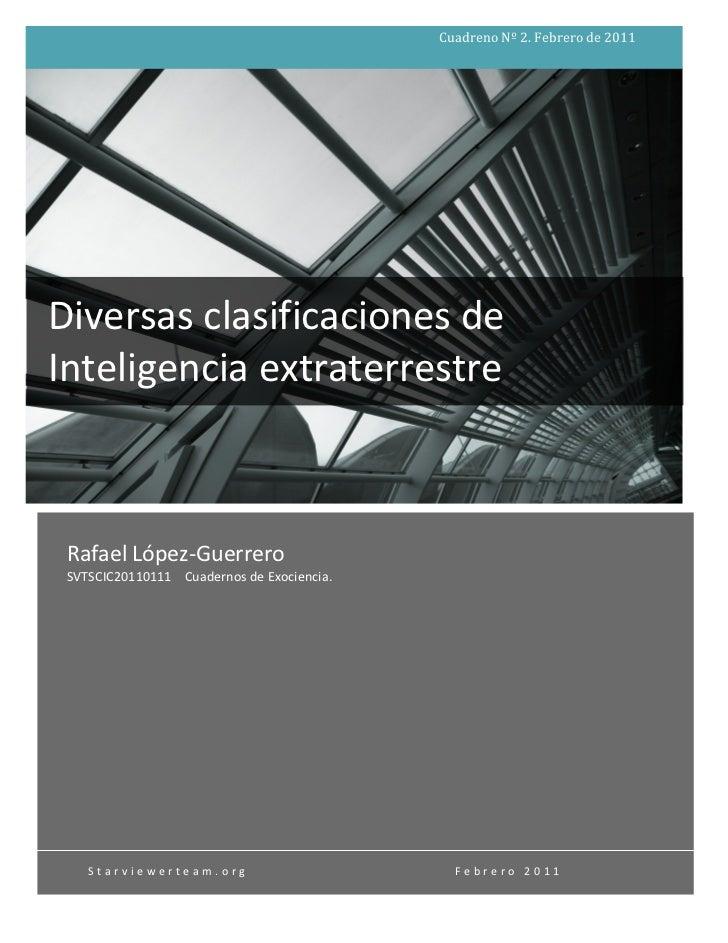 Cuadreno Nº 2. Febrero de 2011                    Diversas clasificaciones de Inteligencia extraterr...