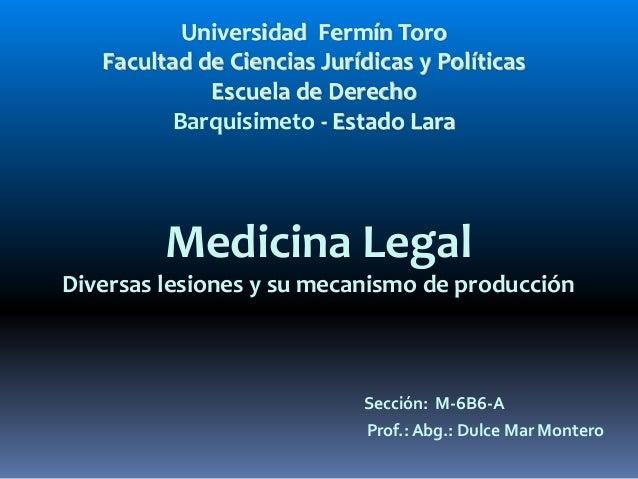 Universidad Fermín Toro  Facultad de Ciencias Jurídicas y Políticas  Escuela de Derecho  Barquisimeto - Estado Lara  Medic...