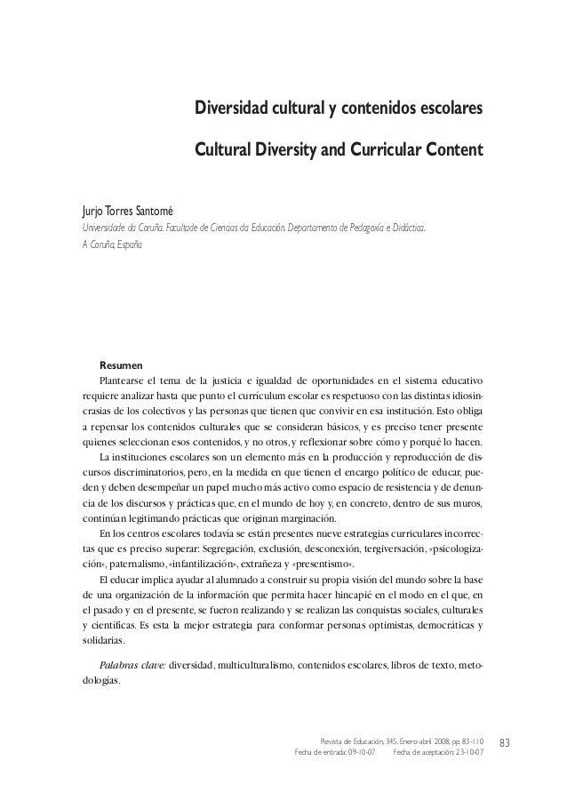 Diversidad cultural y contenidos escolares. Jurjo Torres Santomé