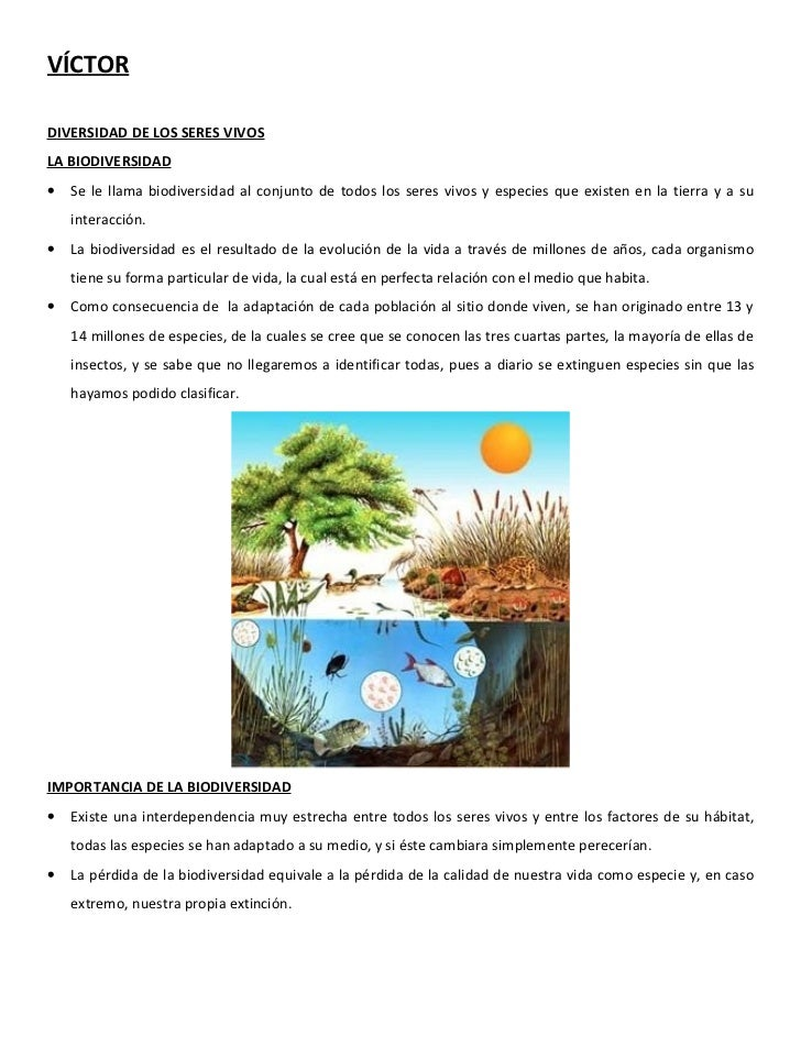 VÍCTORDIVERSIDAD DE LOS SERES VIVOSLA BIODIVERSIDAD•   Se le llama biodiversidad al conjunto de todos los seres vivos y es...