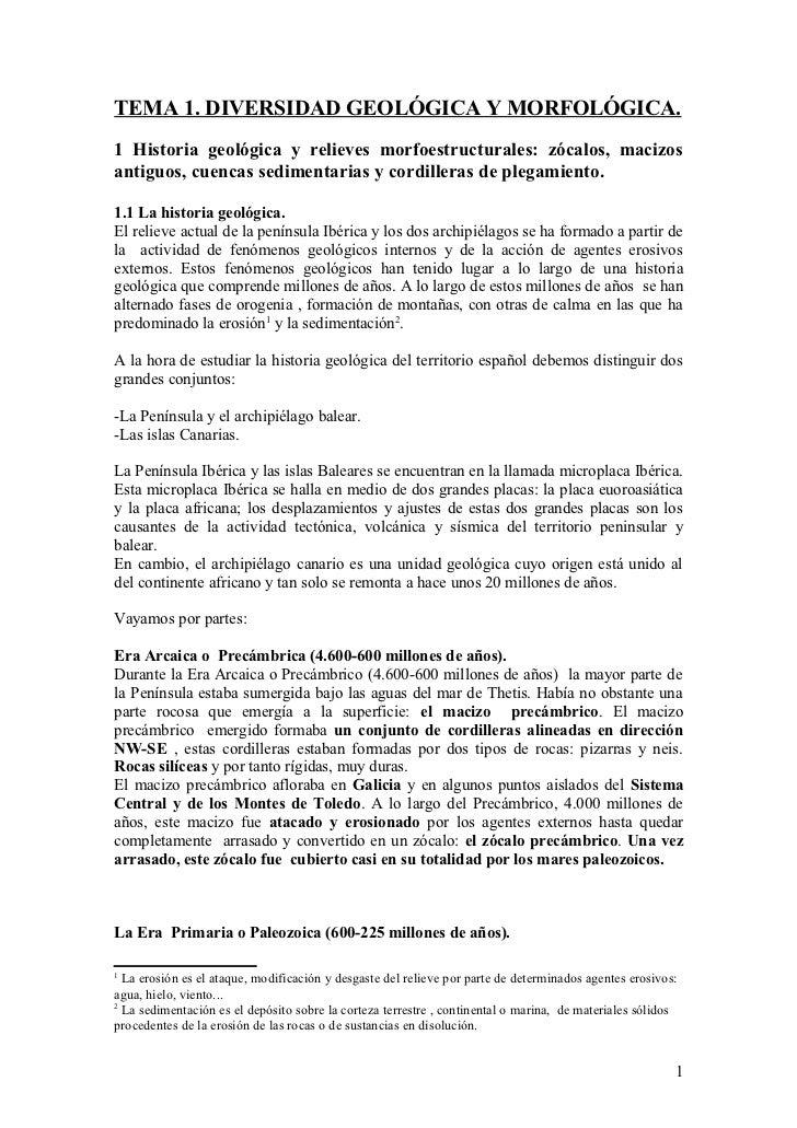 TEMA 1. DIVERSIDAD GEOLÓGICA Y MORFOLÓGICA.1 Historia geológica y relieves morfoestructurales: zócalos, macizosantiguos, c...