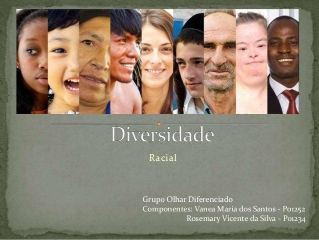 Racial Grupo Olhar Diferenciado Componentes: Vanea Maria dos Santos - P01252 Rosemary Vicente da Silva - P01234