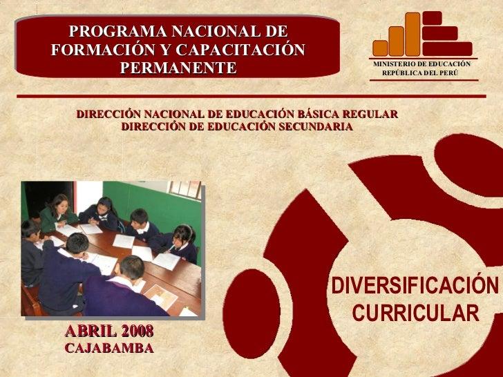 DIRECCIÓN NACIONAL DE EDUCACIÓN BÁSICA REGULAR DIRECCIÓN DE EDUCACIÓN SECUNDARIA PROGRAMA NACIONAL DE FORMACIÓN Y CAPACITA...