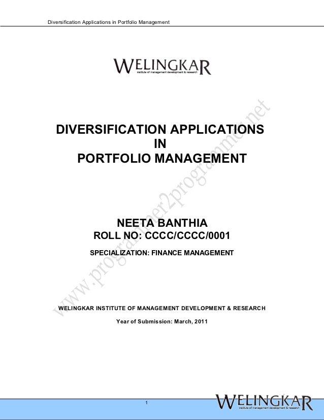 Diversification Applications in Portfolio Management   DIVERSIFICATION APPLICATIONS                 IN      PORTFOLIO MANA...