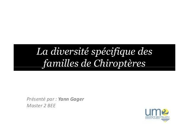 La diversité spécifique des familles de Chiroptèresfamilles de Chiroptères Présenté par : Yann Gager Master 2 BEE