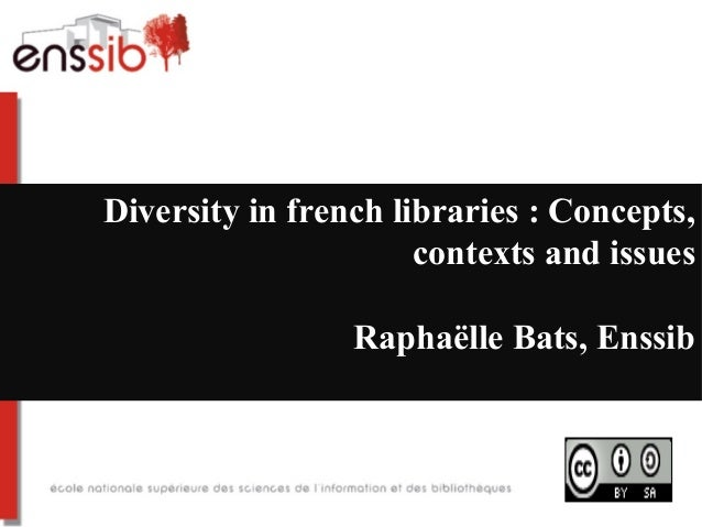 Diversity in french libraries : Concepts,                      contexts and issues                 Raphaëlle Bats, Enssib