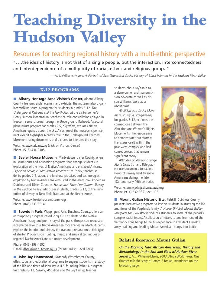 "Teaching Diversity in theHudson ValleyResources for teaching regional history with a multi-ethnic perspective"". . .the ide..."