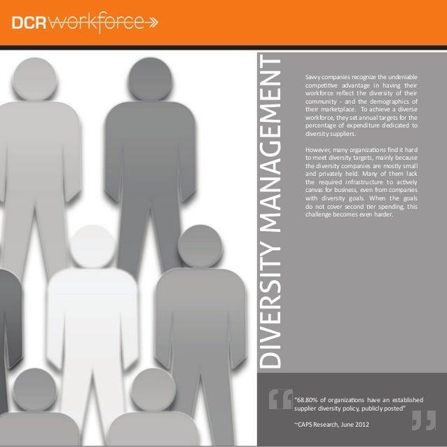 DIVERSITY MANAGEMENT                          Savvy companies recognize the undeniable                          compeƟƟve ...